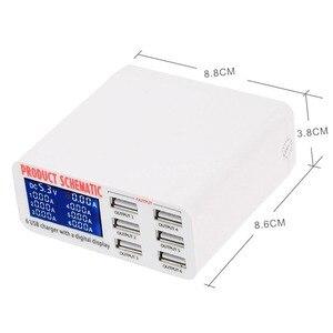 Image 4 - Di động sạc thông minh trạm 6 cổng sạc USB phẳng sạc du lịch LCD hiển thị kỹ thuật số di động dữ liệu thiết bị đầu cuối USB công cụ sạc