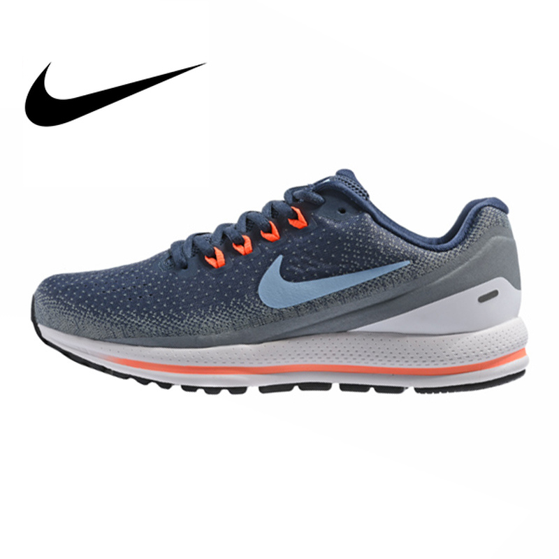 Original NIKE AIR ZOOM VOMERO 13 Men's Running Shoes Dark Blue Shock Absorption Breathable Wear resistant Lightweight 922908 400