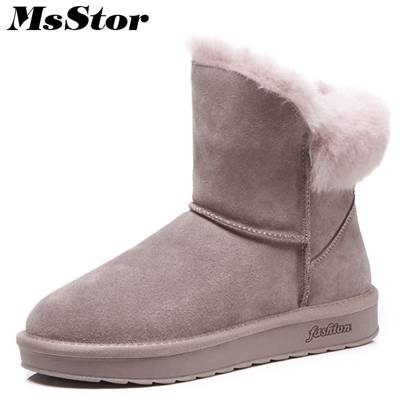MsStor Women Snow Boots Wool Warm Ankle Boots For Woman Winter Shoes Slip On Plush Wool Cotton Boot Shoes For Woman Black Pink недорго, оригинальная цена