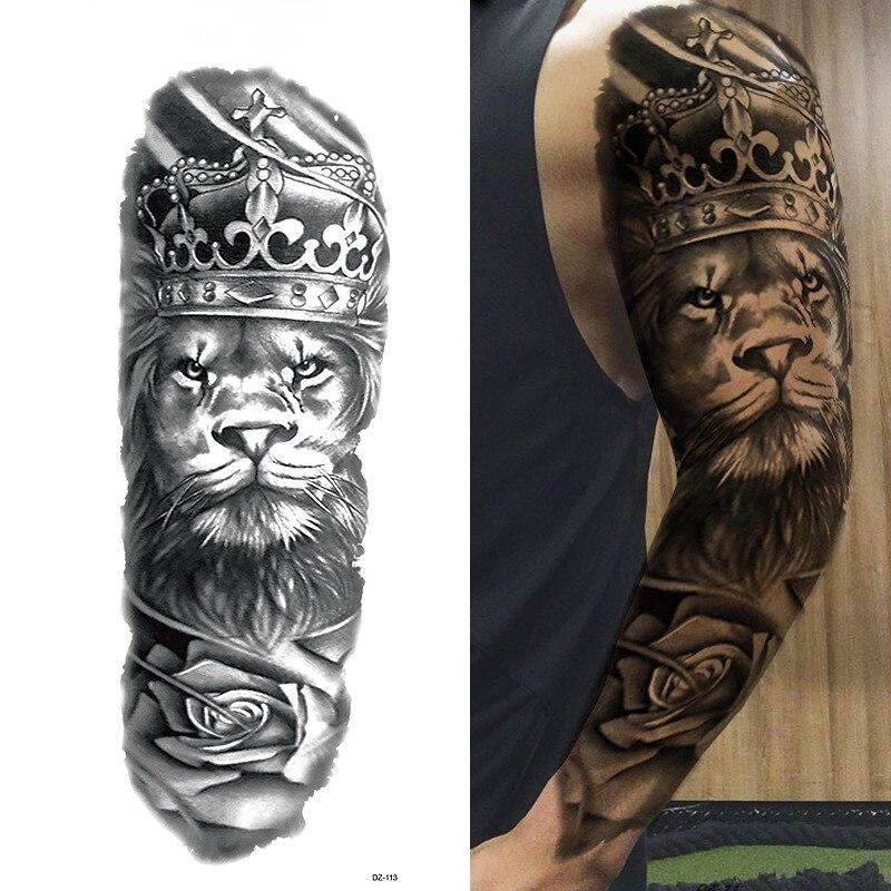 Large Full Arm Tattoo Lion Crown King Rose Waterproof Temporary Tatoo Sticker Wild Wolf Tiger Men Skull Totem Tattoo