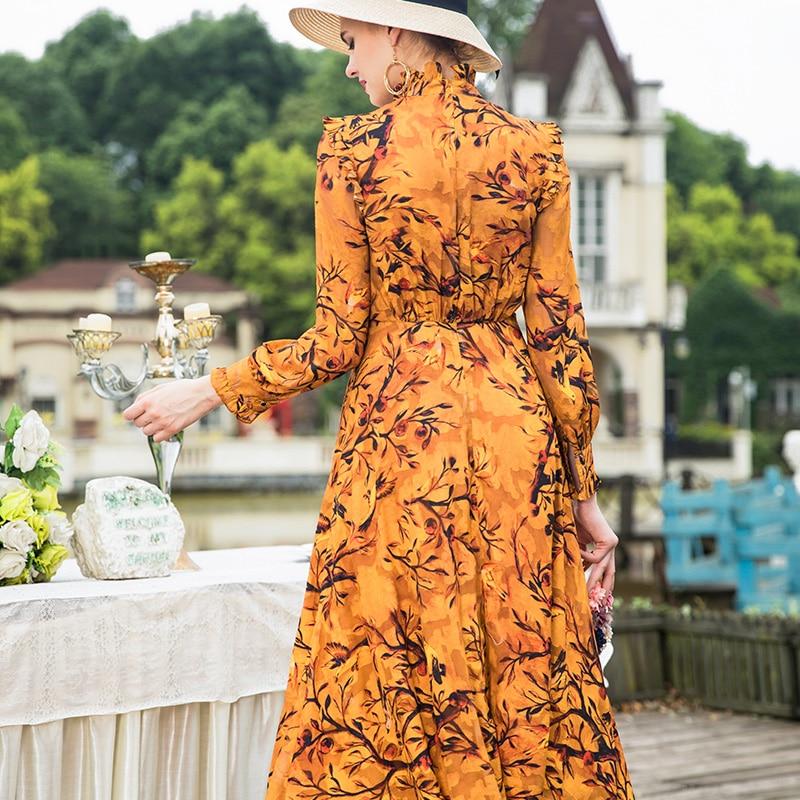Lange Mouw Maxi Jurk 2018 Herfst Modieuze Vrouwen Ruches Kraag Elegante Bloemenprint Lange Jurk Geel Vestidos Plus Size - 4
