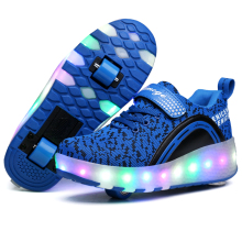 цены Kids LED Shoes Roller Skate Shoes Boys Girls Automatic Jazzy Flashing Heelies spord Kids Sneakers One/Two Wheels Glowing Shoes