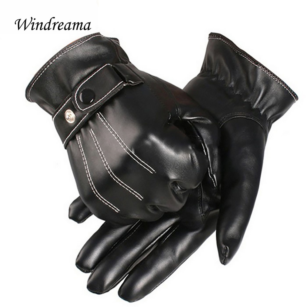 Fake leather driving gloves - Windreama Hot Sale 1pair Men Luxurious Faux Leather Winter Super Driving Warm Gloves Cashmere Free Size