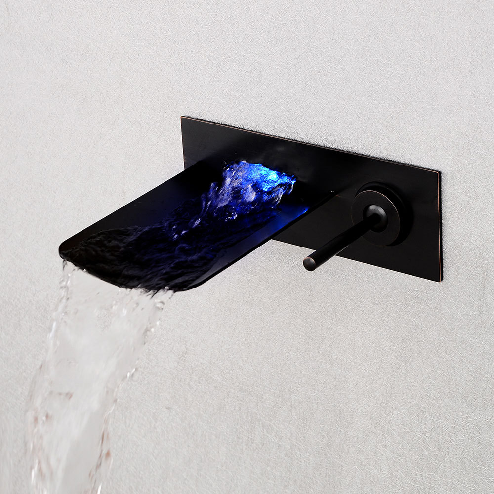 European style black wall entry faucet, LED basin, faucet, bathroom, cold and hot waterfall faucet. european style hot and cold basin faucet black faucet black ancient stage basin hot and cold waterfall faucet lu41223