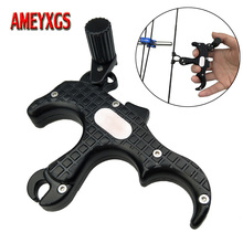 1pc Archery Compound Bow Release Aid Outdoor Hunting Shooting Sports Accessories 3 Finger Automatic Caliper