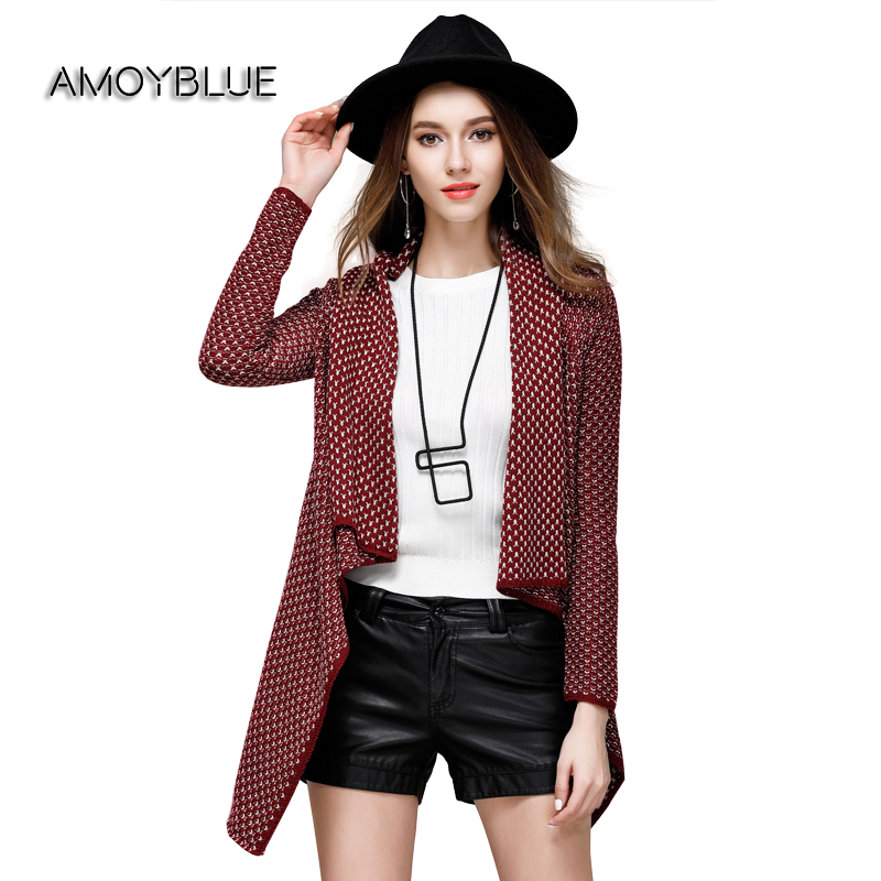 Amoyblue Autumn Winter Cotton Shawl Cardigan Women's Knitted Sweaters Red/Black  Fashion Plaid Long Knitwear - Online Buy Wholesale Red Plaid Cardigan From China Red Plaid