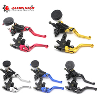 Alconstar Adjustable Motorcycle Clutch Brake Levers Master Cylinder Reservoir Set For Honda For Suzuki For Kawasaki