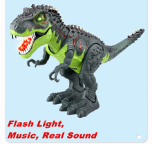 Electric Animal Model toy Tyrannosaurs Rex Battery Operated Flash Eyes Assemble dinosaur with retail package gift for child kids
