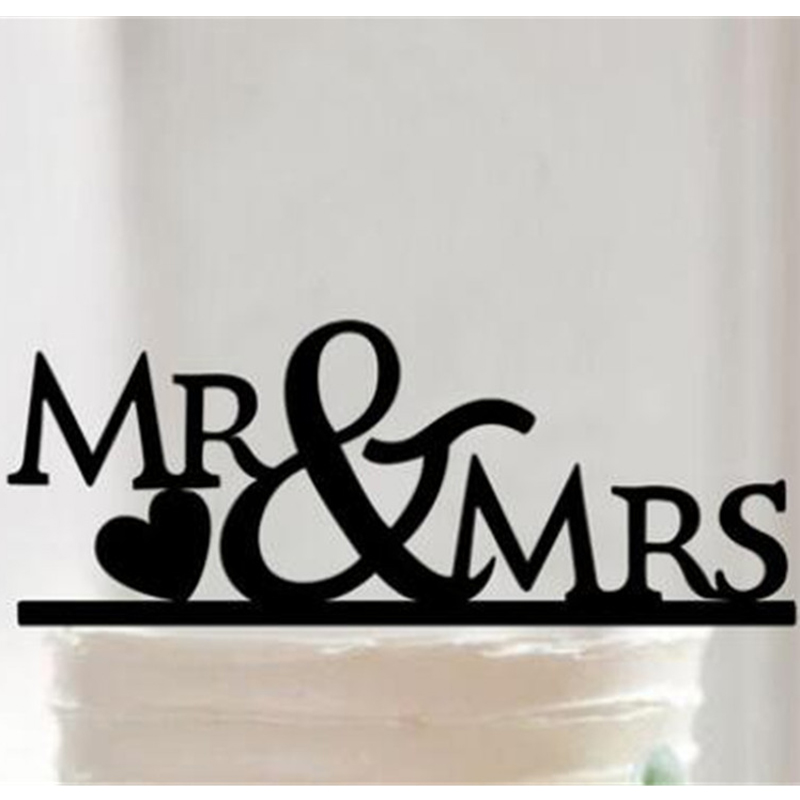Wedding Decoration Black Acrylic Mr Mrs Bride and Groom Love Wedding Cake Topper Stand Decor Party Favors Gifts Accessories