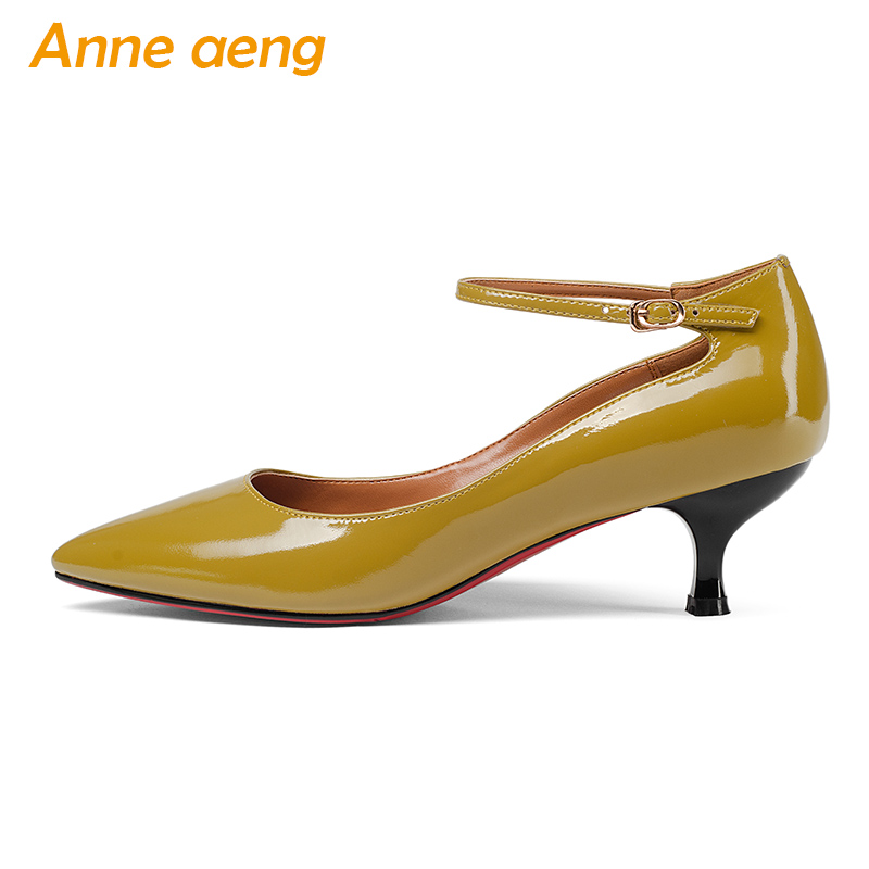 New Spring/Autumn Genuine Leather Women Pumps Middle Thin Heels Pointed Toe Sexy Office Ladies Women Shoes Yellow Mary Janes mary janes shoes woman genuine leather strange style women heels pumps pointed toe shoes string bead spring autumn women shoes
