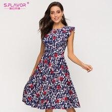 S.風味の女性のノースリーブ a ラインのサマードレスエレガントな印刷ミディドレス 2020 ファッションスリムカジュアルドレス