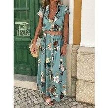 Summer Bohemian Long Dress Women Short Sleeve Floral Sun Holiday Dress with Belt
