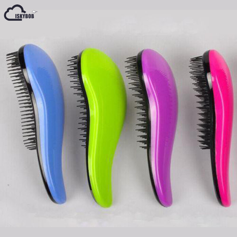 ISKYBOB Portable Magic Handle Tangle Detangling Knot Free Hair Brush Comb Shower Salon Styling Tamer Tool Popular Cosmetic Bag
