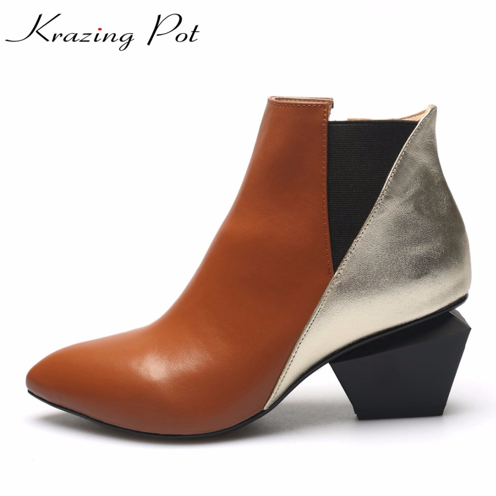Krazing Pot genuine leather mixed colors vintage streetwear strange heels high heels pointed toe women fashion ankle boots L99 krazing pot shallow fashion brand shoes genuine leather slip on pointed toe preppy office lady thick high heels women pumps l18