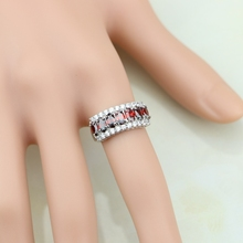 Magnificent Red Garnet White CZ 925 Sterling Silver Ring For Women Wedding/Engagement/Party/Gifts Ring