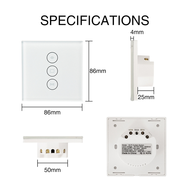 WiFi Smart Curtain Switch for Electric Motorized Curtain Blind Roller Shutter