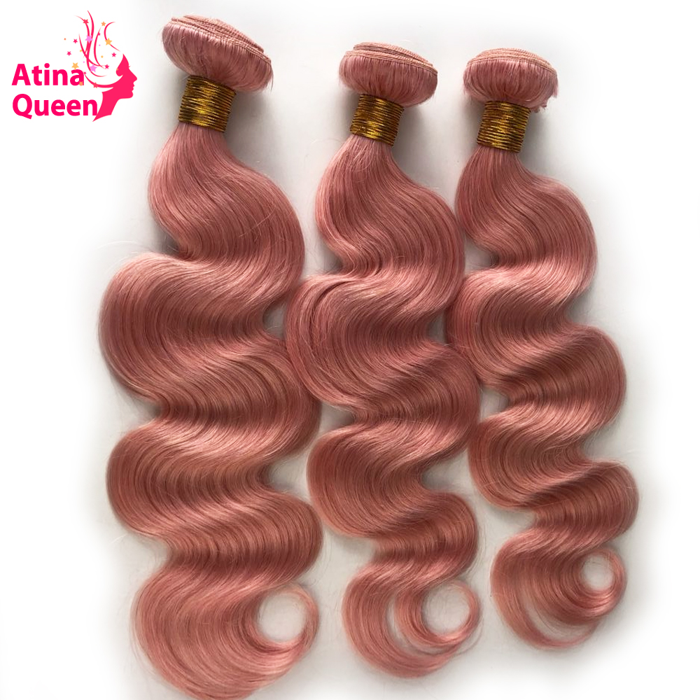 Atina Queen Pink Body Wave Human Hair Weave 3 Bundles Double Weft Ombre Pink Blonde Remy
