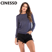 CINESSD Women Casual Pullover Sweaters Round Neck Long Sleeves Solid Tops Tee Shirt Navy Blue Loose Autumn Thin Knitted Sweater