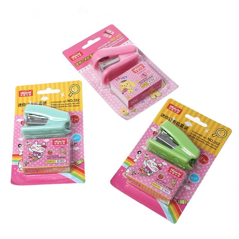 Creative Office Binding Supplies Plastic Mini Cute Staplers With Staple Rectangle At Random Rabbit Pattern 13.8x8.6cm, 3 Sets