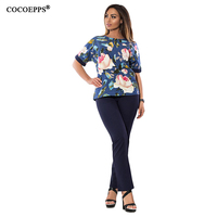 COCOEPPS Summer Patchwork 2 Pieces Sets Women Tops And Pants 2017 Elegant Large Size Floral Print