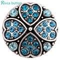 Rivca botão snap pulseiras para as mulheres 4 cor de prata antigo chapeamento 18mm strass botão snap charme pulseiras jóias d03262