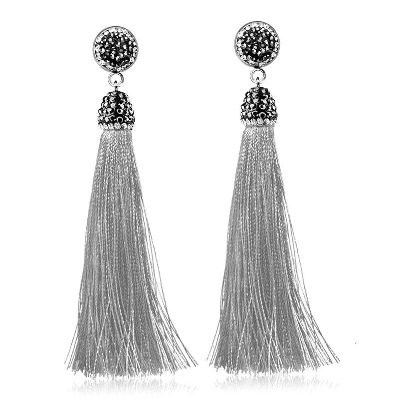 2018 Bohemia Crystal Silk Tassel Earrings Handmade High Quality Gray Red Long Drop Dangle Earrings Women Trendy Jewelery ...