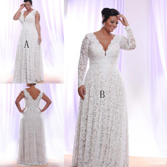 Sexy Ivory Lace Plus Size Formal Dresses V Neck Empire Long Sleeve