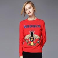 Herfst Nieuwe Producten Rode Bee Bloem Borduren Brief Rode Trui Knit Shirt Hoofd Gebreide Trui vrouw SZOS57015