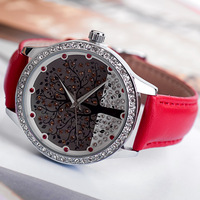 Luxury Full Crystals Women Dress Watches Novel London Hope Tree Quartz Timepiece Fashion Vogue Grils Leather