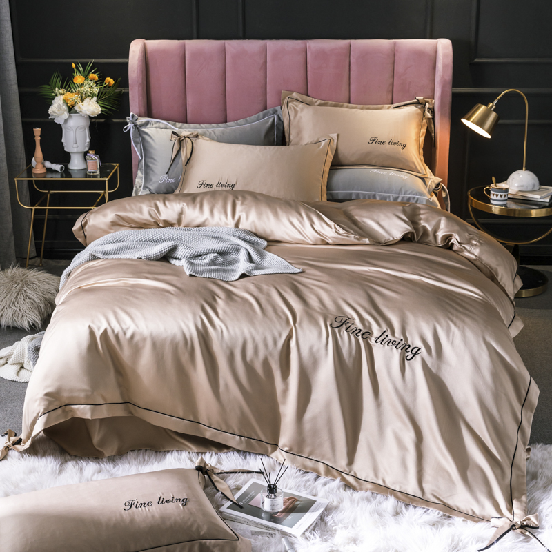 Washed Silk golden bedding set 4pcs/set embroidery duvet cover fitted sheet pillowcase home textile bedclothes bed linen set newWashed Silk golden bedding set 4pcs/set embroidery duvet cover fitted sheet pillowcase home textile bedclothes bed linen set new