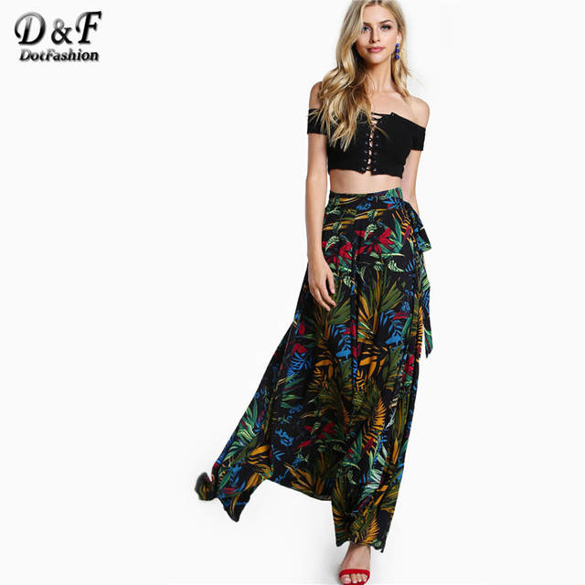 placeholder Dotfashion Ladies Tropical Print Self Tie Wrap Skirt Summer A  Line Boho Maxi Bottoms Women s Beach 8f3f629054da