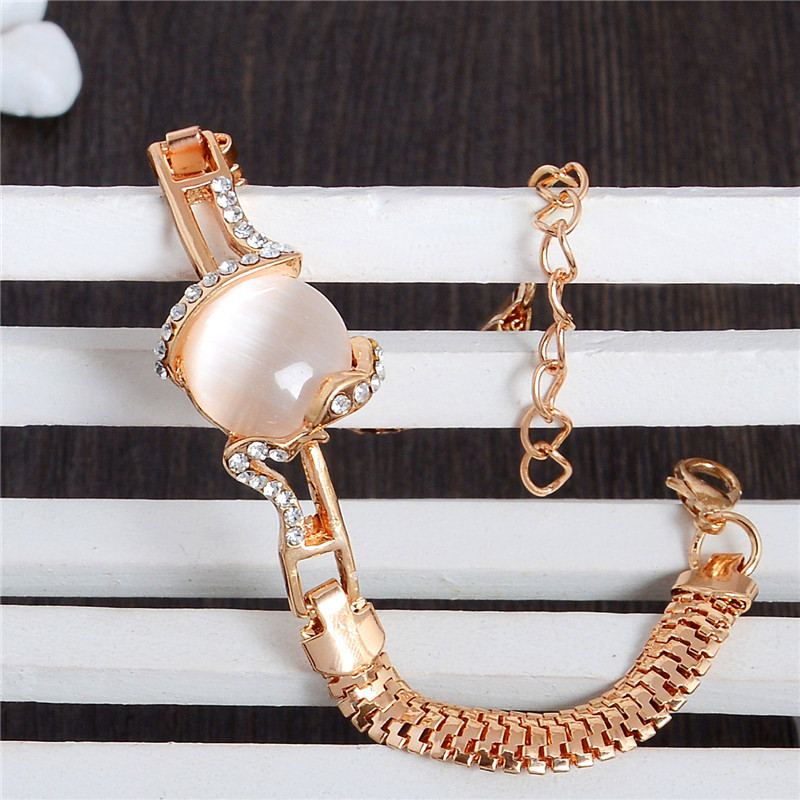 MISANANRYNE  Fashion Jewelry Gold Color Shiny Austrian Crystal Cat Eye Stone New Design Bracelets 3