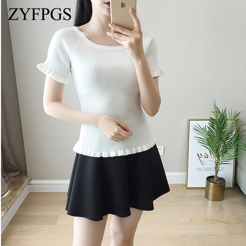 ZYFPGS 2018 Summer White Black Women T-Shirt Sexy Jacket Wild Lotus Leaf Short-Sleeved T-shirts For Women Korean Clothing L0512