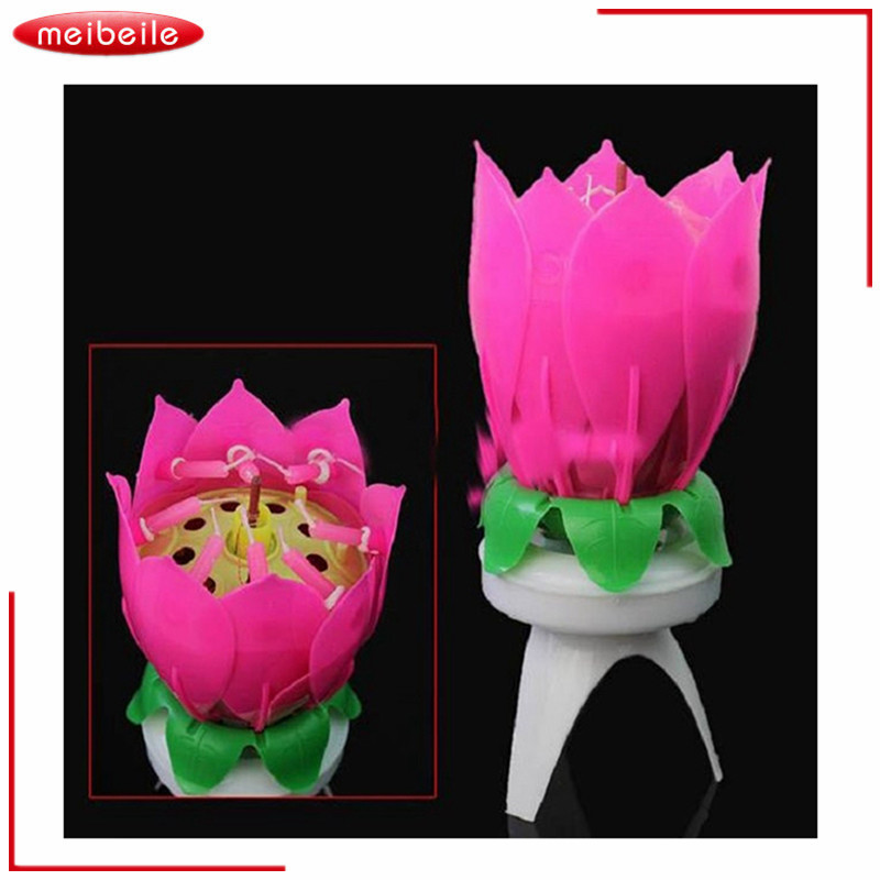 Musical Lotus Flower 8 Candles For Children Birthday Romantic Party Light Yankee Candle Christmas Velas Decorativas Casamento
