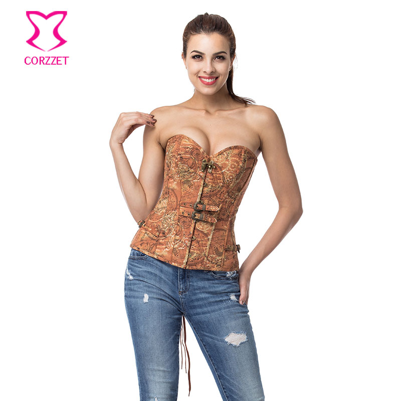 Brown Denim Corsets And Bustiers Steampunk Clothing Steel Boned Overbust Corselet Corset Gothic Sexy Bustier Burlesque Costumes