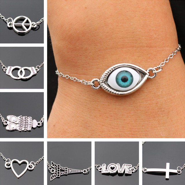Charm Bracelets For Men Women Retro Jewelry Link Chain Bracelet Bangle Cross Heart Handcuff Love Peace Eye Valentine's Day Gift