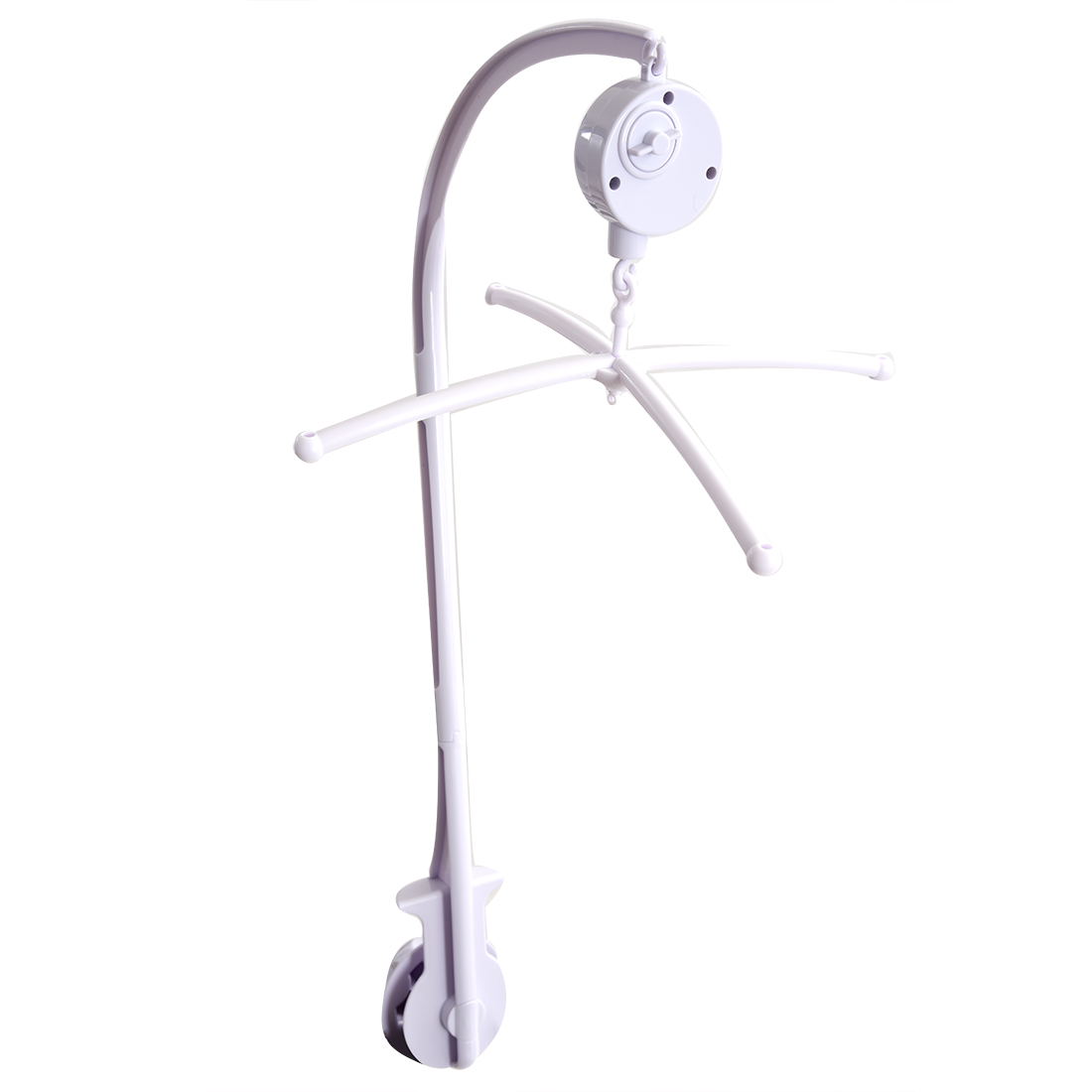 White Baby Crib Mobile Bed Bell Toy Holder Arm Bracket + Wind-up Music Box