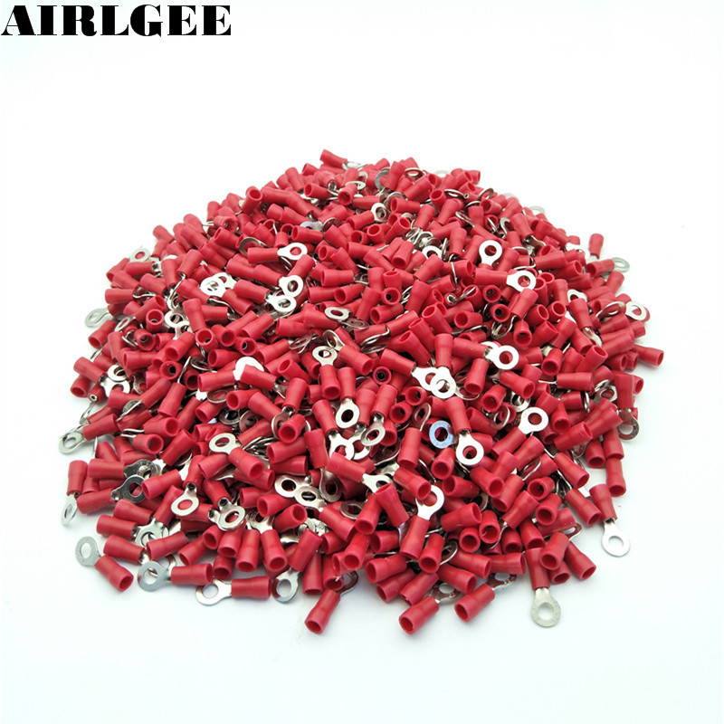 1000 Pcs RV1.25-4 Red Sleeve Pre Insulated Ring Terminals Lug Connector Free shipping 500 x rv3 5 4 ring tongue type pre insulated terminals black for awg 14 12