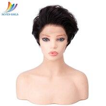 Sevengirls doğal renk dalga kısa kesim tam dantel peruk doğal saç çizgisi ile malezya işlenmemiş insan saçı kadınlar için ücretsiz kargo