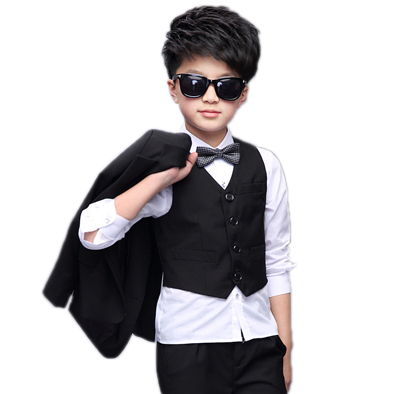 2018 New Kids Boys Blazers Suits 5 Pieces Set Boys Wedding Clothes Single Breasted Block Color Formal Boys Wdding Tails Suit Bow color block splicing single breasted plus size thicken blazer page 2