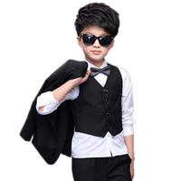 2018 New Kids Boys Blazers Suits 5 Pieces Set Boys Wedding Clothes Single Breasted Block Color Formal Boys Wdding Tails Suit Bow