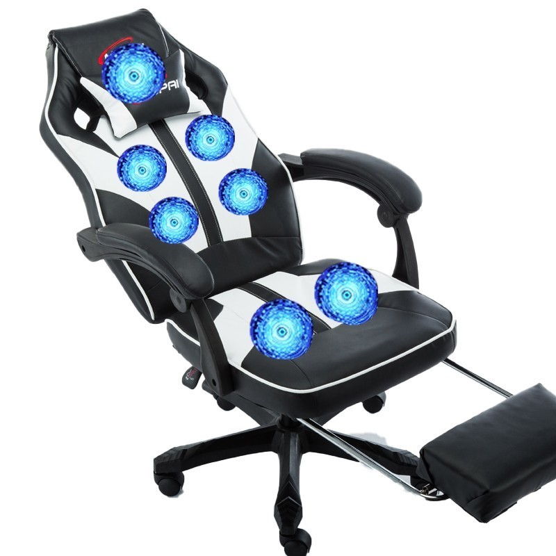 Luxury Quality Office Poltrona Silla Gamer Esports Chair 7 Point Massage Wheel Synthetic Leather With Footrest Can Lie Household