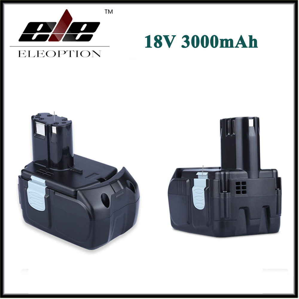 2 PCS ELEOPTION 18V 3000mAh Li-ion Power Tools Battery for HITACHI Drill BCL1815 BCL1830 EBM1830 327730 high quality power tool battery for hitachi ebm1830 327730 bcl1815 dh18dl ds18dl dv18dl 18v 5000mah li ion rechargeable battery