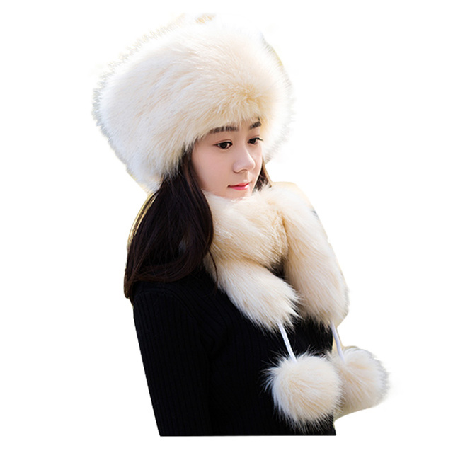 f24ae37850b Winter Faux Fluffy Fox Fur Snow Caps for Girls Women s Fake Fur Hat Russia  Thickening Men Warm Hat Scarf With 2 Long tails FY20