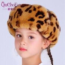 Winter Russia Fur Hat Children Warm Soft Real Rex Rabbit Boy Girl Earmuffs Lei Feng Cute Baby Bomber Cap
