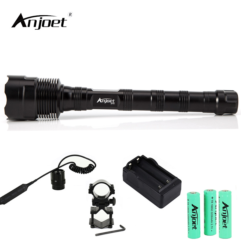 ANJOET Single file Tactical Flashlight Aluminum Alloy Lantern 6000Lm XML 3xT6 camping light 1 Mode LED Torch 18650 Battery