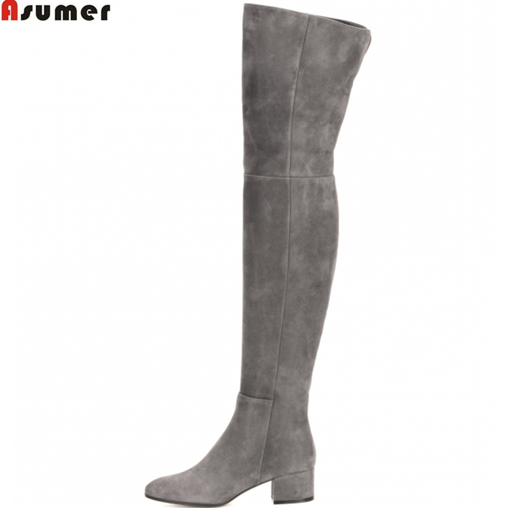 ASUMER black gray fashion women boots square heel cow suede ladies boots zipper square heel leather over the knee boots women suede slip on over the knee boots fashion winter rivet comfortable square heel elastic boots black gray dark gray
