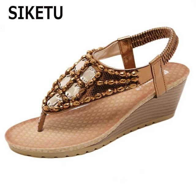 SIKETU Woman 2018 Drilling Sandals Flip-flops Bohemian Wedge Rhinestone  Decoration Ladies Sandals Size 35-42 aede25449820