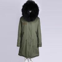 Длинные унисекс женский, черный кролик подкладка армии основа зимняя куртка в стиле милитари внешняя куртка