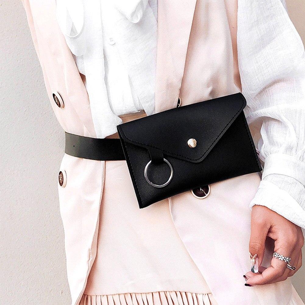 Women Belt Bag Fanny Pack Leather Envelope Waist Bag Fashion Women's Pure Color Ring PU Messenger Shoulder Chest Pochete Homem